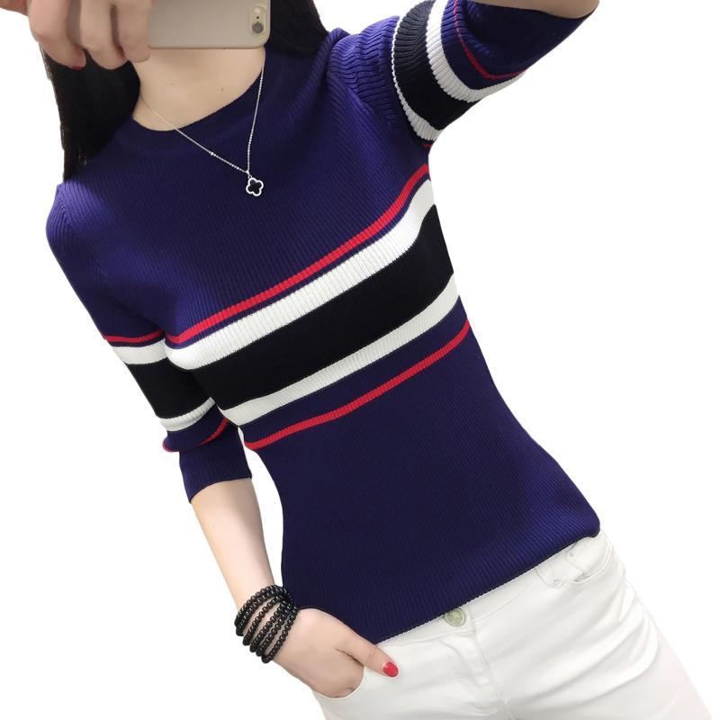 PullOver delle donne Autunno Autunno allentato O N a maglia Femminile Femmina Moda coreana Striscia Strisce Plus Size Maglione R419