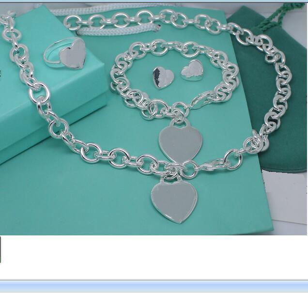 2020 billig heißer Verkauf Edelstahl dicke Chians mit Herzplatte Anhänger Halsketten und Armband Ohrringe Ring Set mit blauem Kasten und Dastbag