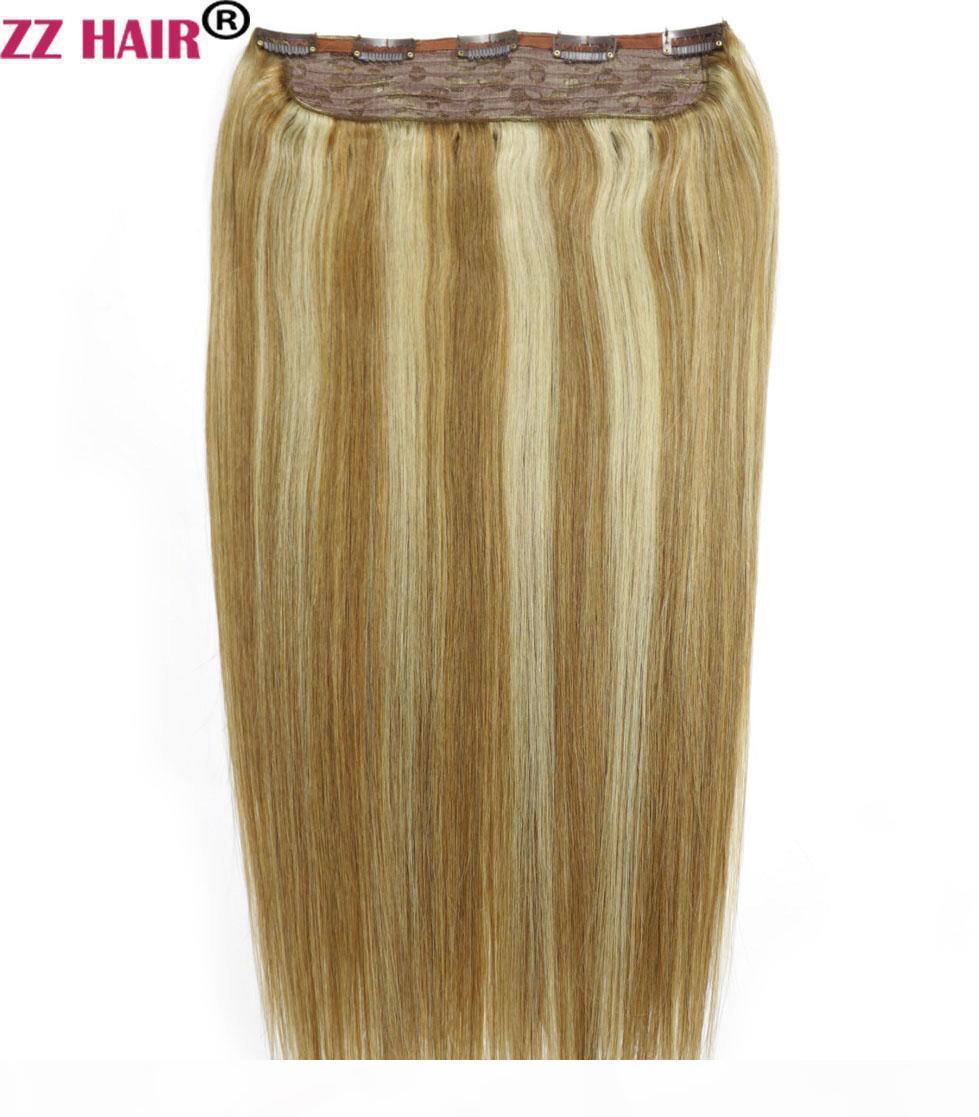 """16 """"-28"""" 100% Brasilianisches Remy Human Hair 140g 1 stücke Set Clips in auf menschlichen Haarverlängerung Einteiler Haar 5 Clips Natürlich gerade"""