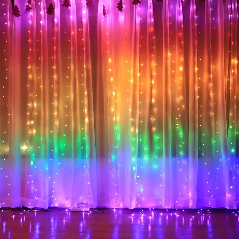 3x3m Rainbow Curtain Night Lights Lamp LED String Garland Fairy Decorative Lights for Christmas Party Bedroom Wall Wedding Decor 201128
