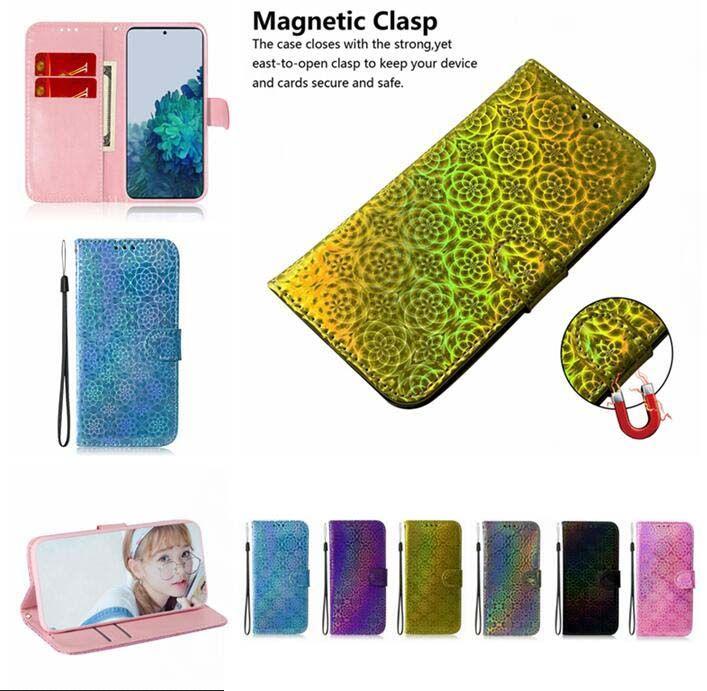 3D Bling Flower Wallet Ledertasche für Samsung S21 Plus Ultra A42 5G S20 FE M51 A01 Kern M31s F41 Bunte Riemen Stand Telefonabdeckung Luxus