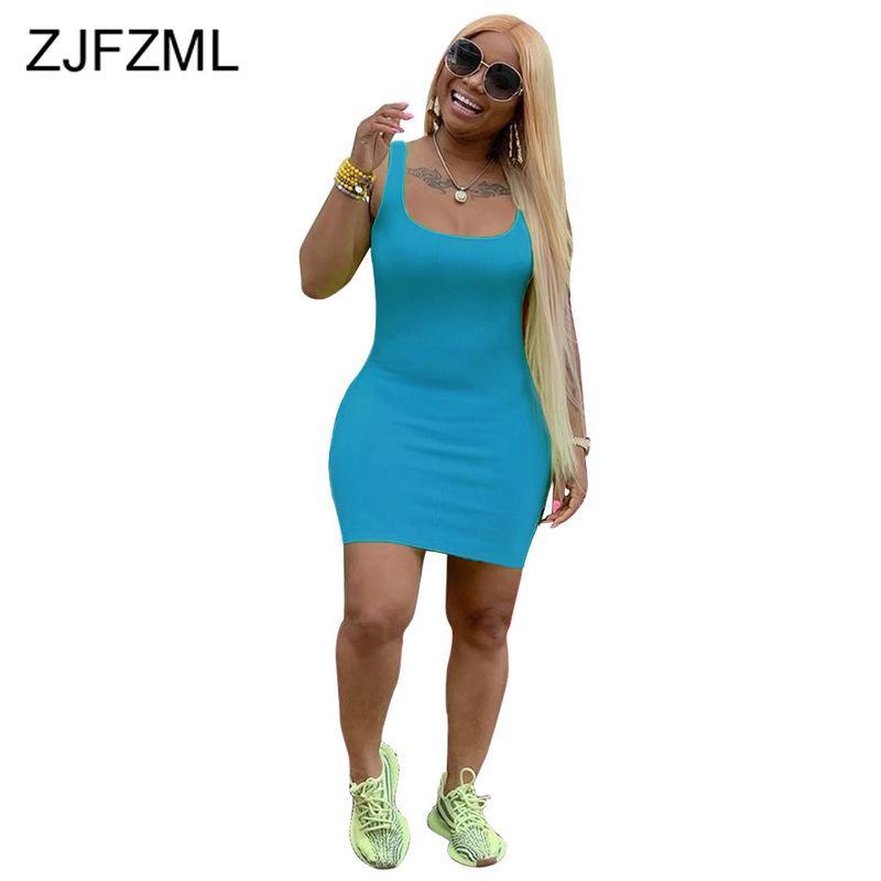 Высокая талия лето плюс платье размера 2021 женские зеленые o шеи спинки упаковки бедро платье повседневный апельсин без рукавов bodycon мини