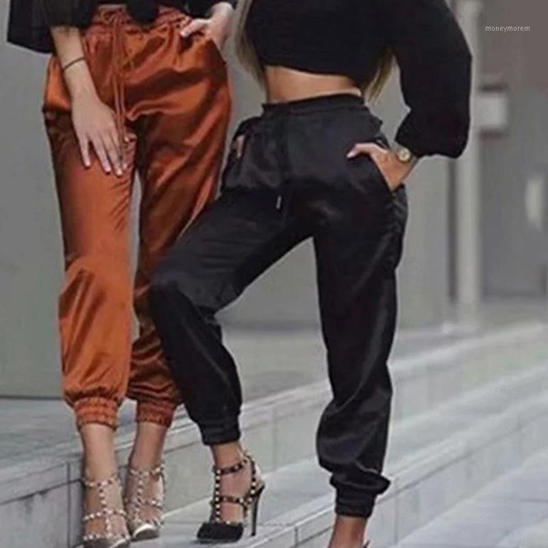 2021 nuovi pantaloni Green Satin Women SwisString Harem Pantaloni Allentati Casual Jogging Pant SweatPant Pants attivi 1