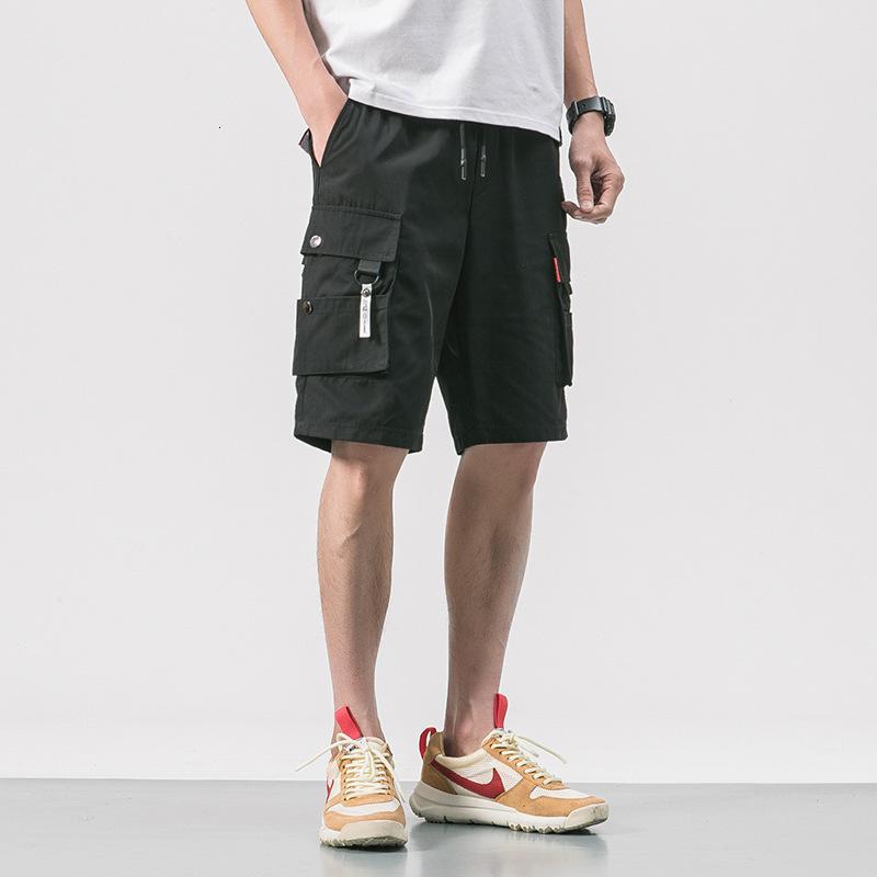 Sportswear pour hommes Shorts de la mode coréenne chic de la mode noir en noir Casual Capris 0895