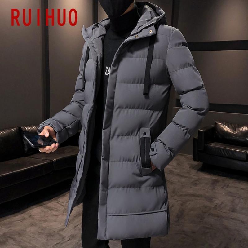 Ruihuo Uzun Kış Ceket Erkekler Parkas 2020 Kış Ceket Erkekler Ceket Hip Hop Rahat Ceket Kapşonlu Sıcak M-4XL