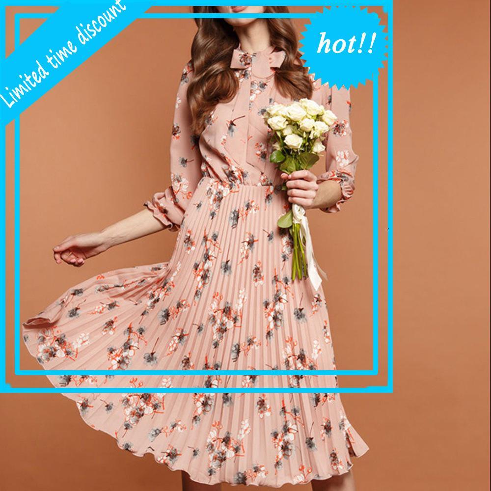Noir Fleur Imprimer une robe A-Line Automne élégant Nouveau Vestine Vestidos occasionnelle pour femme