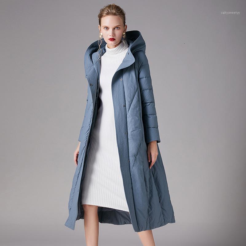 Зима Новая Мода Куртка с капюшоном Утолщение Большой Размер Синие Женские Длинные Белые Утиные Пальто Винтаж Густые Пугает Parkas Женский Lady1
