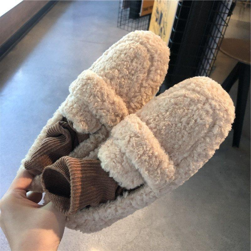 Casual Woman Shoe Slip-on Square Toe Loafers Fur Shallow Mouth Autumn Female Footwear Soft Slip On New Moccasin Fall Winter