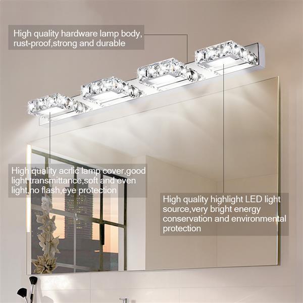 12W 노드 장식 조명 현대 방수 거울 벽 LED 라이트 욕실 광장 럭셔리 4 조명 크리스탈 sconce 크리스탈 램프 도매