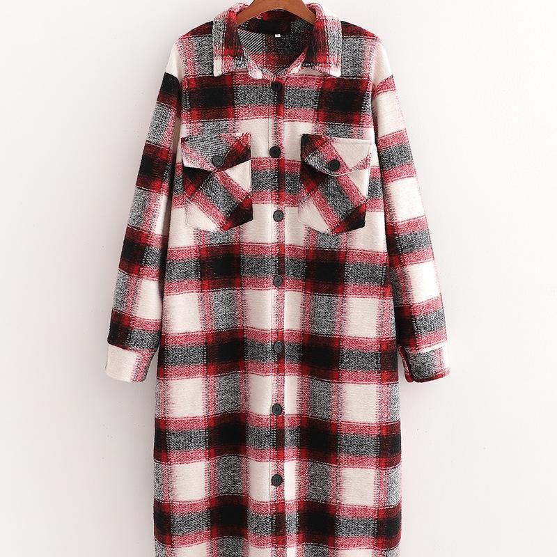 XD - 3225-2021 Sonbahar paragrafı kumaş ceket Avrupa'da büyür ve Amerika Birleşik Devletleri kadın yeni kırmızı, ekose ceket kadın