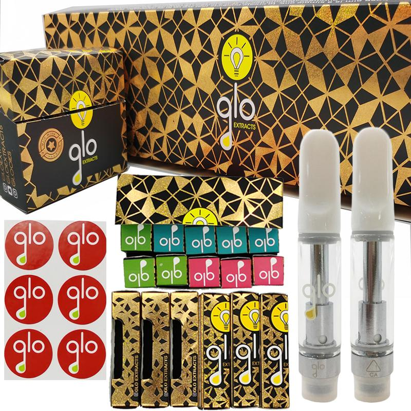 Glo Extracts Vape Cartridges 1ml 0.8ml Glass Tank Empty Vaporizer Pen Oil Cartridge 510 Thread Ceramic Coil Vape Carts with Packaging Boxes