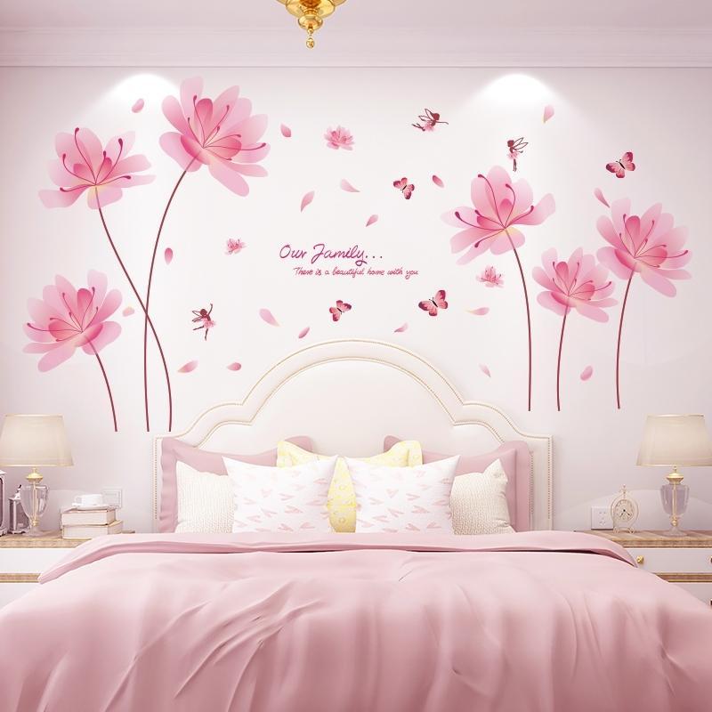 [Shijuekongjian] Pink Color Flowers Wall Pegatinas de la pared DIY Planta Elf Calcomanías de la pared para la sala de estar Dormitorio Decoración de la casa 201130