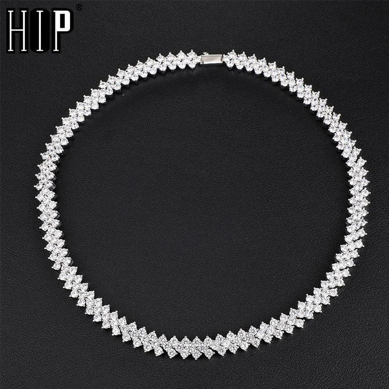Hip Hop 10MM Bling Iced Out Rose Gold Tennis Chain CZ Copper Setting AAA+ Cubic Zirconia Stones Chain Gold For Men Women JewelryQ0115
