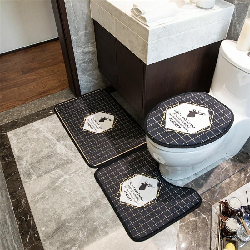 Accessoires Set Toilette Siège Saisons Couvre tout personnalité Charme Tapis de salle de bain Tapis de salle de bain Lettre imprimée Troendy Linme