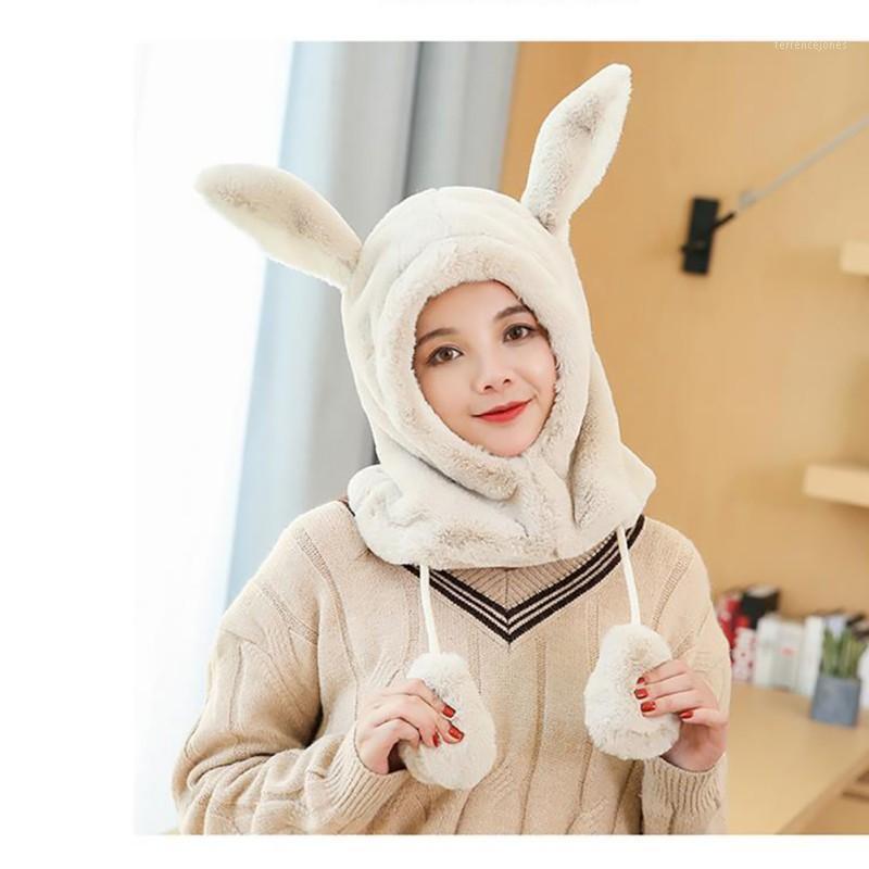 Orelha chapéu de pelúcia senhoras inverno bib um cap coreano estilo kawaii a maré colarinho aquecido e veludo protetor de ouvido beanies1