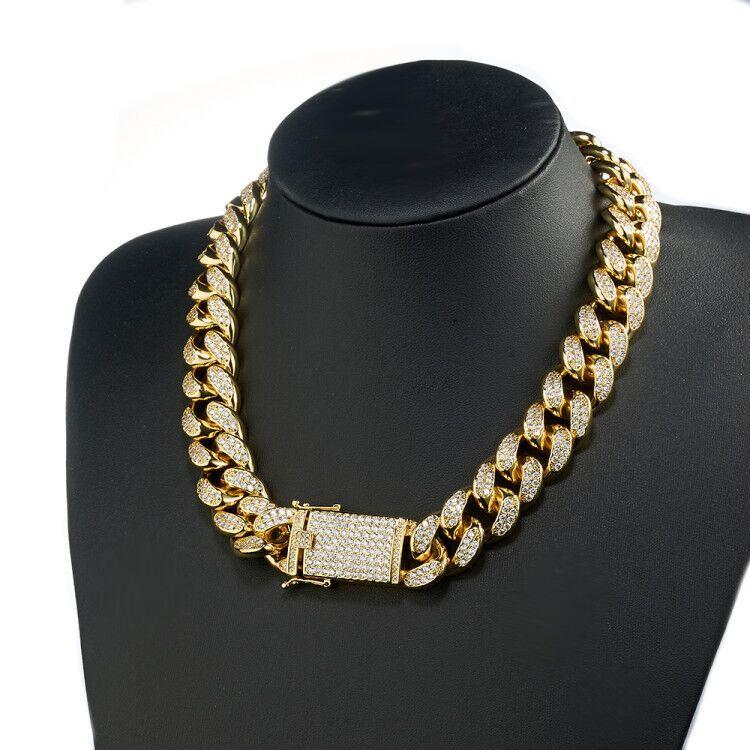 20mm 16-36 pollici pesanti ghiacciati zircone miami cubano collegamento catena collana choker bling hip hop oro argento monili di rosegold