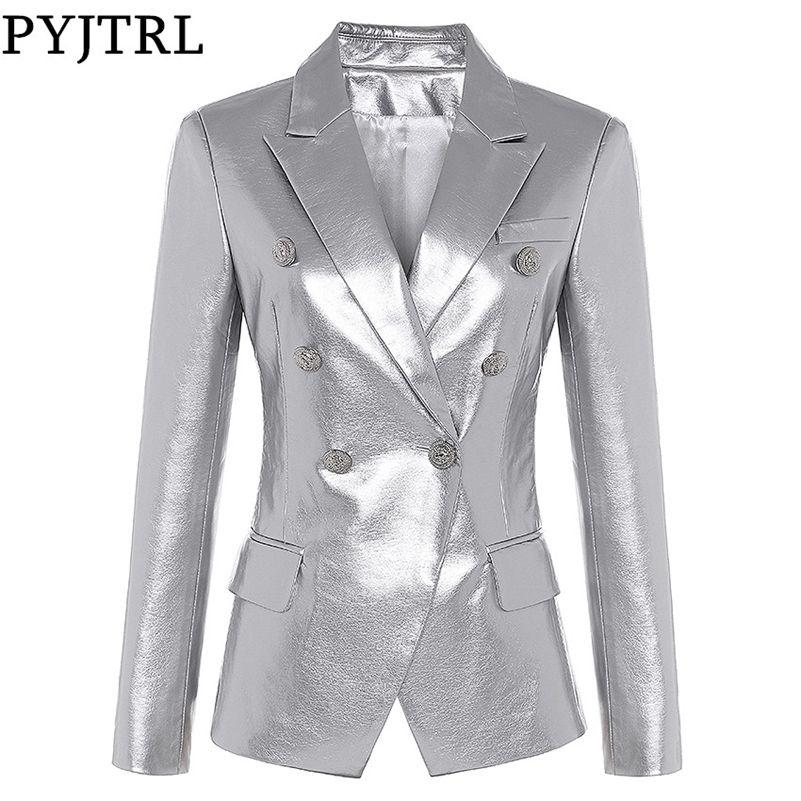 Pyjtrl Mulheres Outono Inverno Moda Casual Blazer Slim Fit Jacket Duplo Breasted Couro Sintético Blazer Overcoat LJ201214