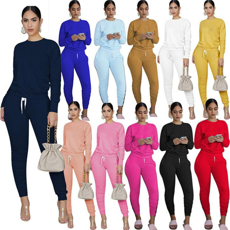 Womens long sleeve shirt leggings outfits jogging pullover trousers two piece set tracksuit sportsuit bodycon sweatshirt sexy KLW5574