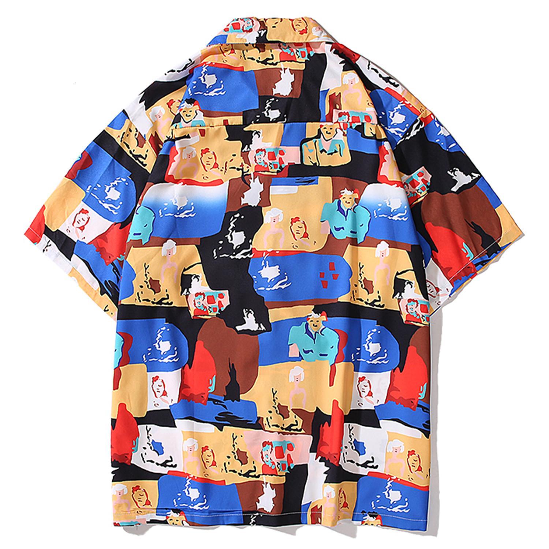 2021 New Aelfiric Eden Hawaii Пляжные Рубашки Мужчины Мультфильм Граффити Летняя улица Устройства с коротким рукавом Повседневная Хлопок Harajuku Винтаж 4277