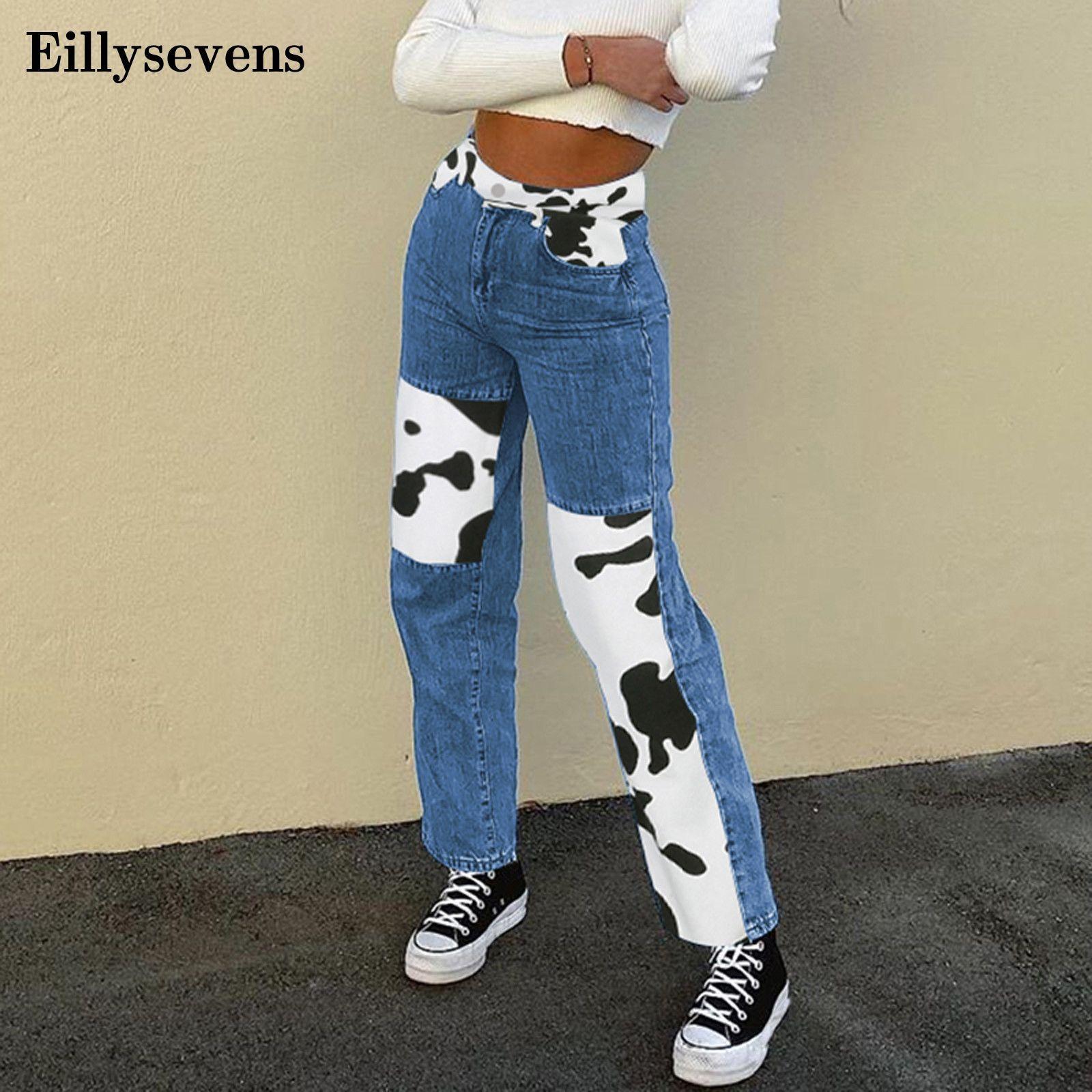 Vintage High Tail Jeans Mujeres Moda Casual Color Bloque Color Bloque Derecho Pipa Sbendiantes Jeans Broek Denim Broek Vaqueros Mujer
