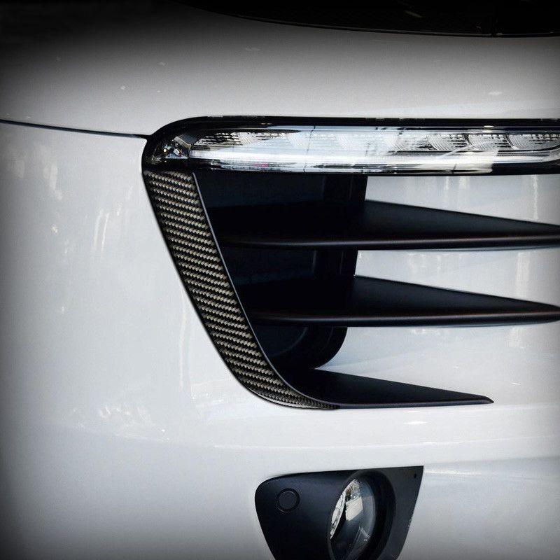 포르쉐 Macan 용 액세서리 2014-2020 탄소 섬유 전면 헤드 라이트 눈썹 트림 스트립 외부 수정 스티커 자동차 스타일링