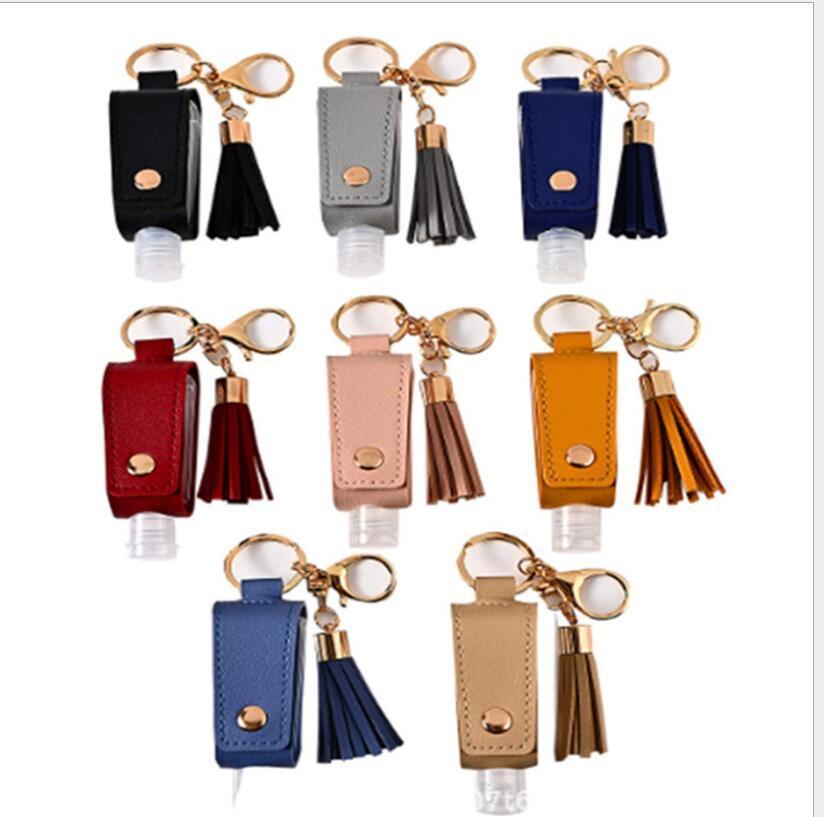 Porte-assainisseur de mains Pu cuir PUL Tassel Porte-clés Bouteille Titulaires de couverture Sac à main Sac à main Sac à main Porte-clés Chaîne Sac Cadeau avec bouteille WMQ168