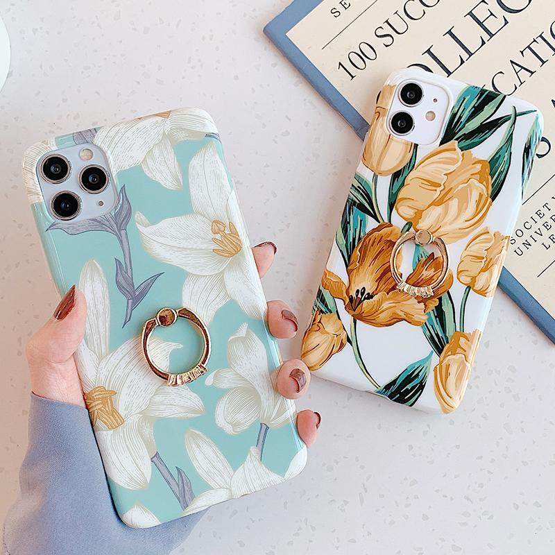 Красивый прессованный цветочный чехол для телефона для iPhone 12 11 Pro Max XR XS MAX 7 8 6S PLUS X Глянцевая мягкая цветочная задняя крышка