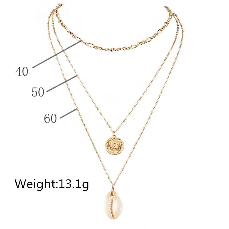 Bohemian Gold Couleur Rond Shell Pendentif Collier Summer Beach multicouches Collier Bijoux Accessoires