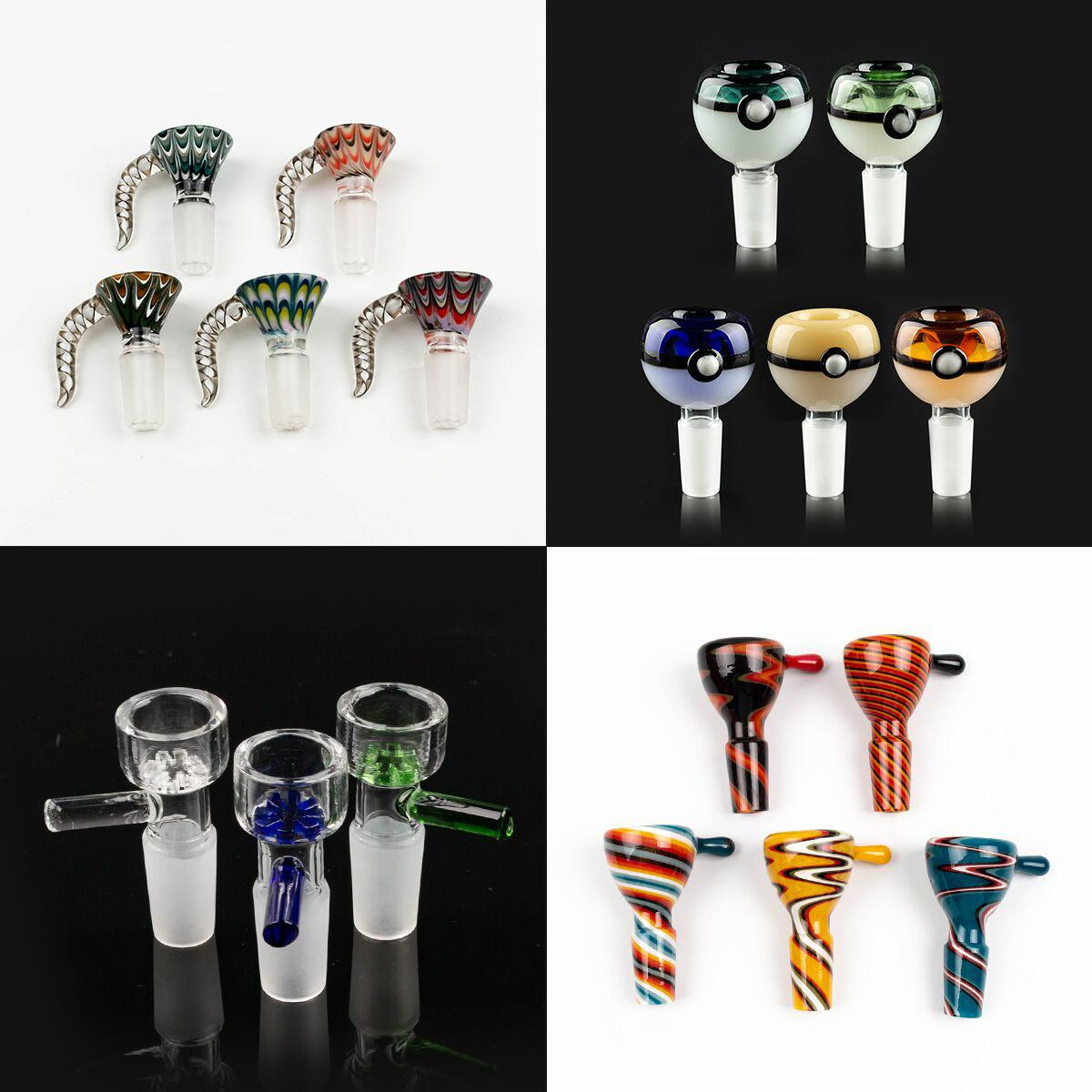 Wholesale 14mm bowl and 18mm Male glass bowl With flower Snowflake Filter bowls For Glass Water Bongs bongs smoking bowls