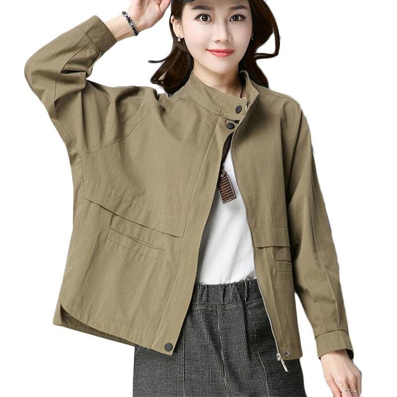 2020 Spring Autumn New Cotton Short Coat Women Stand collar Long-sleeved Loose Windbreaker Women's Asymmetric Trench Coats F472