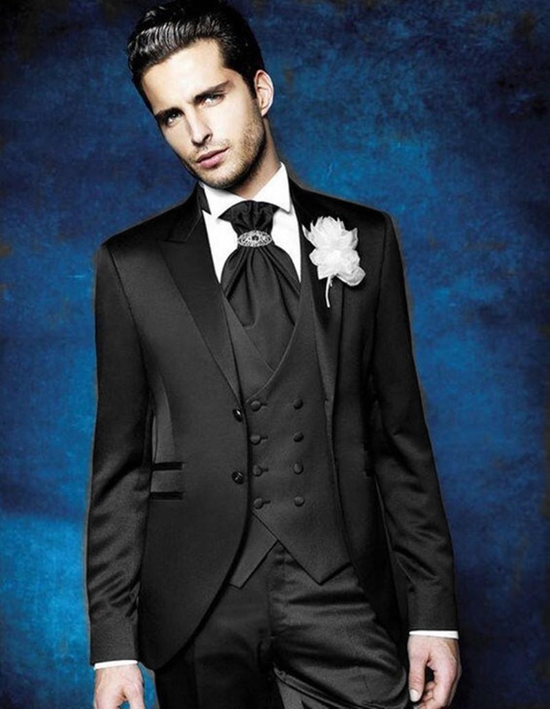 Classic Two Buttons Groom Wedding Peak Lapel Men Muits Mens Wedding Suits Tuxedo Costumes De Pour Hommes Men(Jacket+Pants+Tie+Vest) W661