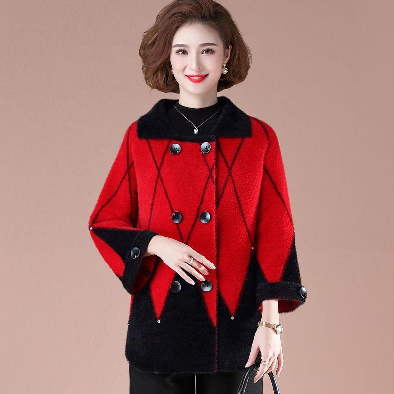 Puntos de mujer Tees Mujeres Otoño Invierno Madres Ropa 2021 Moda Mindas Fleece Chaqueta Cashmere Suéter abrigo Tops Plus Tamaño 4xla535