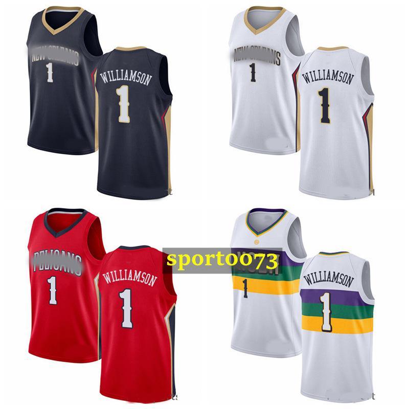 2020 jóvenes hombres hijos Nueva OrleanssPelicanssjersey 1 ZionWilliamson rojo el color blanco alero cosió jerseys del baloncesto 816