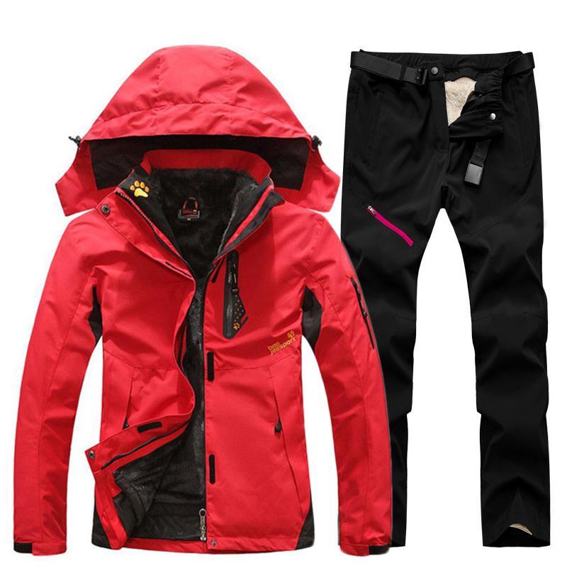Terno de esqui para mulheres ao ar livre impermeável térmico 2 em 1 esqui de terno de neve e jaquetas snowboarding conjunto plus size terno de inverno feminino Z1128