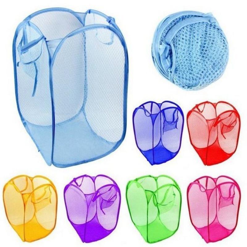 Wäsche-Korbbeutel Faltbare Popup Waschkleider Hamper Mesh-Lagerung Kinderspielzeug Schuhe Sonnenkarten Aufbewahrung Freies Verschiffen LLS75