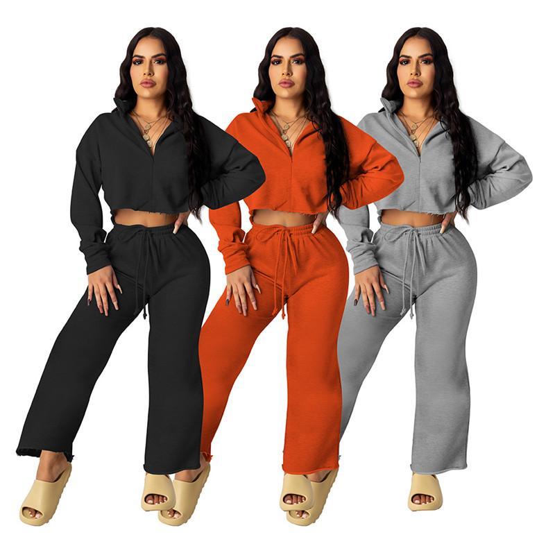 2 Stück Outfit Frauen Trainingsanzug Fall Kleidung Feste Sweatsanzug Reißverschluss Mantel Flaschen Hosen Joggers Joggypant