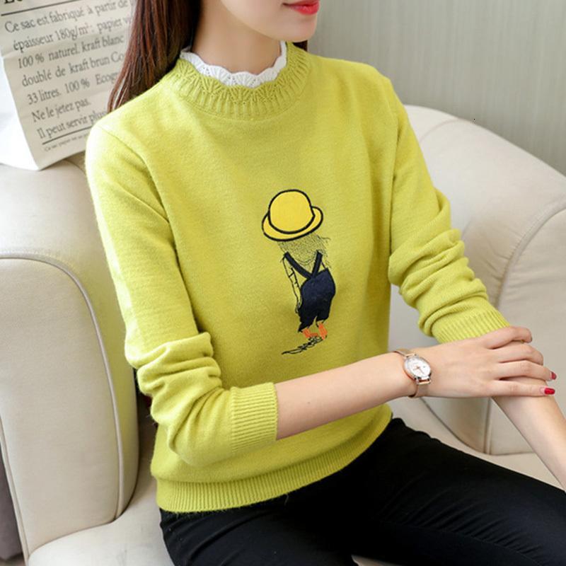 Turtyleneck tricoté femme pull 2020 Nouveau automne hiver coréen manches longues cavaliers pull solide Pulls de pulls hauts femelles