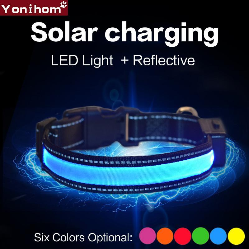 Nylon Pet Dog Collar LED Light Night Safety Light Solar Rechargeable LED Collar Flashing Glowing Pet Dog Rechargeable