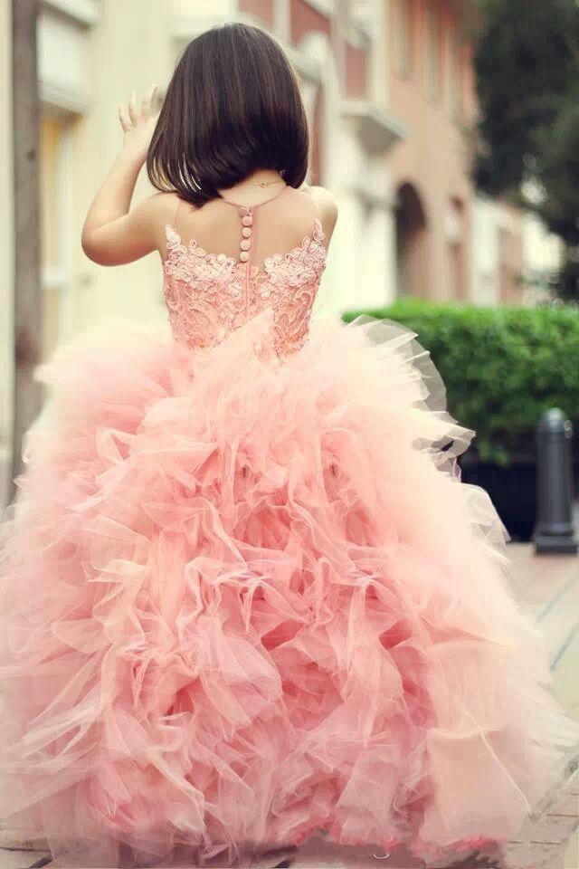 Blush Pink Sweety Princess 2017 линия цветок девочек платья драгоценности иллюзия без рукавов крытая кнопка аппликации тюль длиной до пола девушки платья