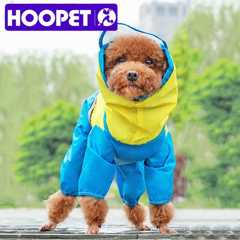 Dog Apparel HOOPET Raincoat Jumpsuit For Dogs Pet Cloak Small Cat Chihuahua Teddy Waterproof Jacket