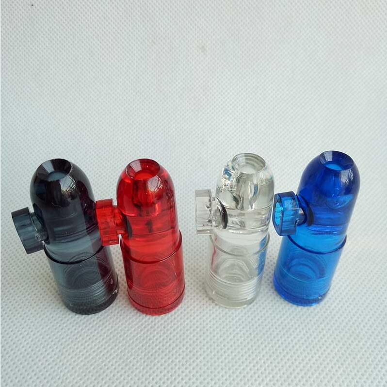 Plástico Snuff Dispenser Bullet Rocket Snortal Smoking Pipe Cigarette Tubos Tubos 4Colors Color Dabber Bubblers Hookah Agua Bongs Máquina Rolling