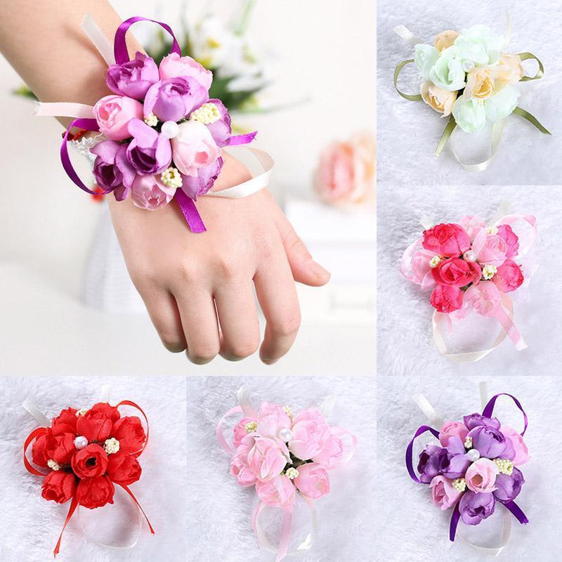 Düğün Dans Partisi Dekorasyon için Bilek Korsaj Nedime Sisters El Çiçekleri İnci İpek Kurdele Yapay Gelin Çiçek