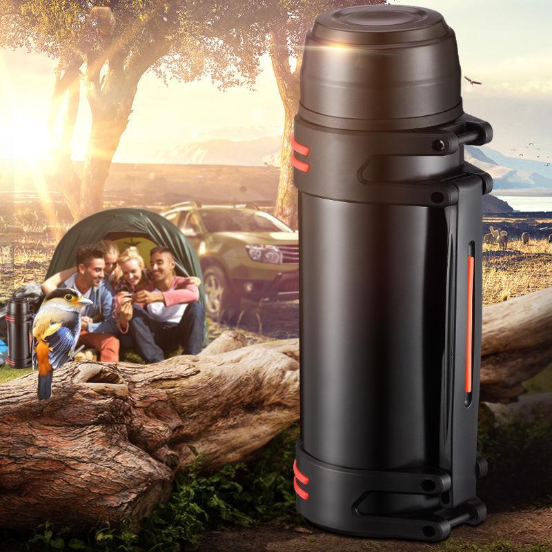 Thermos de thermos en acier inoxydable de grande capacité Tous les jours, en plein air, thermo-eau automobile isolant isolant portable aspirateur 3L / 2L LJ201218