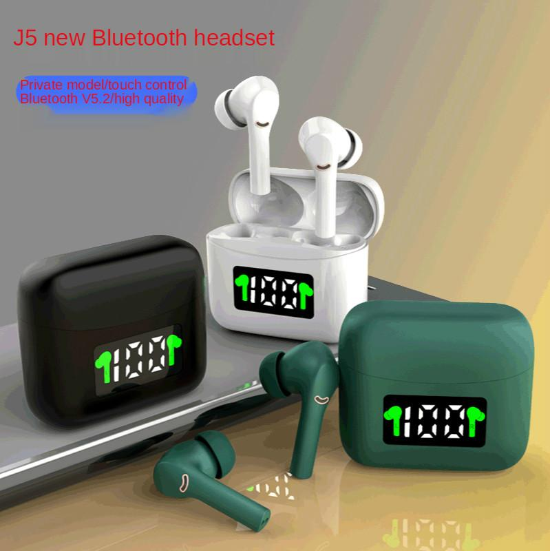 TWS Bluetooth Fone de Ouvido Novo Modelo Privado Anc Redução de Redução de Redução de Tela Sem Fio TWS Binaural Esportes In-Ear J5 Bluetooth Headset 5.2