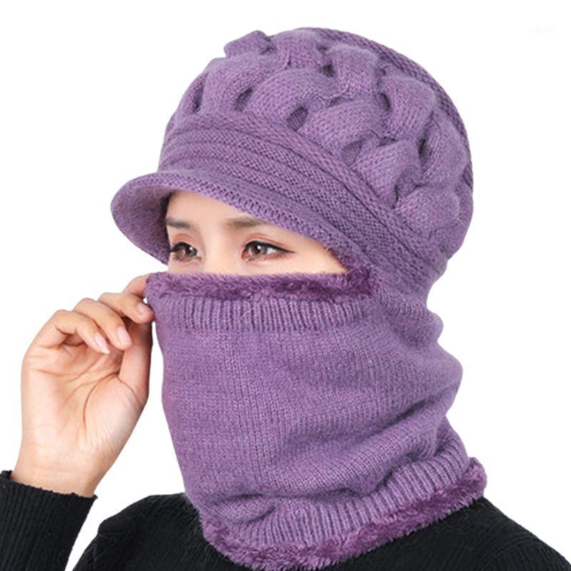 Protezione del viso Sciare Modo Skull Cap Outdoor Sport Soft Maglia con Visiera Donne Inverno Cappello Inverno Scaldino Scaldatore Signore Thermal1