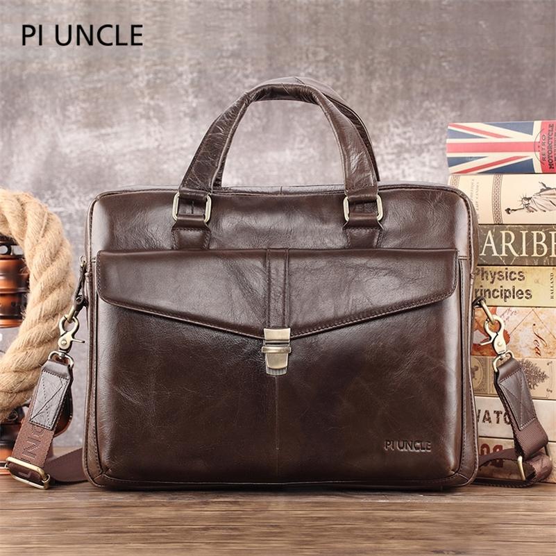 Maletín de negocios de cuero genuino de los hombres bolsos de computadora para trabajos CROSS CUERPO 14 bolso portátil Oficina de cuero suave Bag Bag Hombres LJ201012