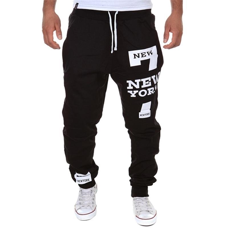 Hombre Casual Carta Impresión Pantalones De Pantalones Nuevos Cordones Masculinos Pantalones De Cadera Flojos Joggers Track Pantalones De Algodón Y201123