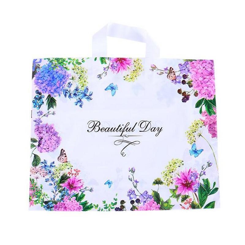 Frauen Mode Verpackungstasche Einkaufen Plastikkleidung Ornamente Verpackung Taschen Farbe Blume Schmetterling Handtasche Schöner Tag NEU 0 69hh F2