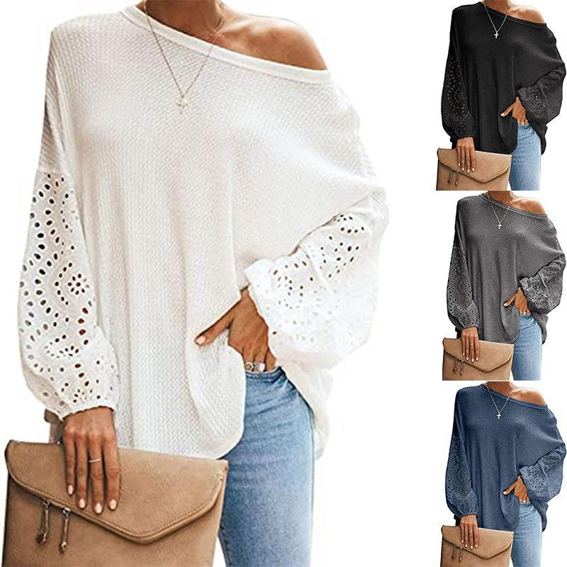 Frauen Herbst Winter Strick Pullover Tops Patchwork Spitze Langarm O Neck Lässige Mode Lose Lady Street Pullover