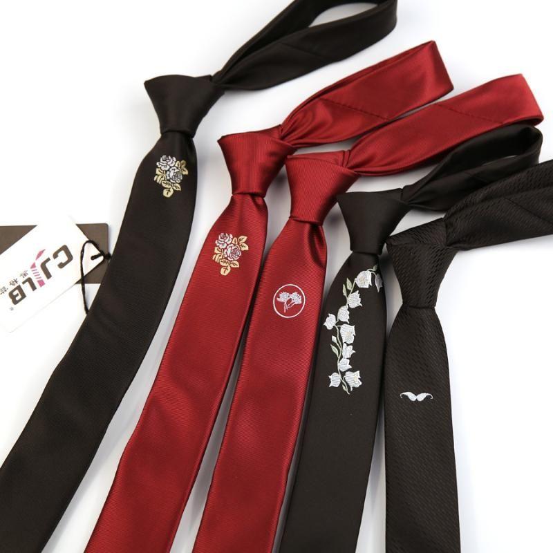 Männer dünne Krawatten Schwarz Rot Polyester Seide Floral Jacquard Narge 5cm Krawatte Krawatte Krawatte Party Gravata Männer Krawatten Business Hochzeit